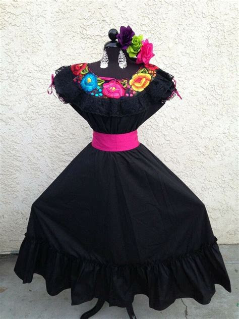 mexican dress fiesta de mayowedding black  piece