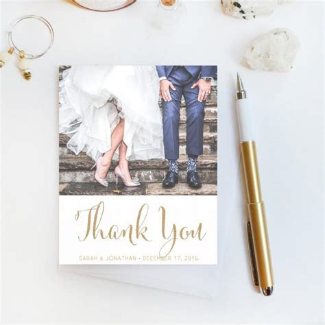 Wedding Thank You Card, Custom Photo Wedding Thank You