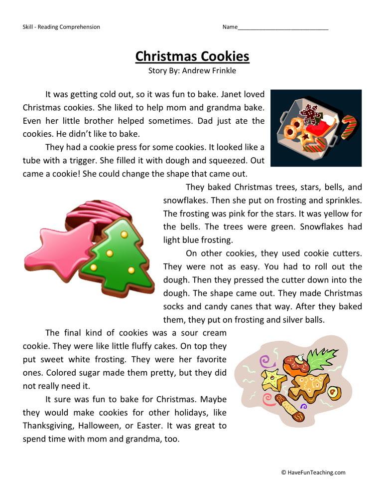 Reading Prehension Worksheet Christmas Cookies