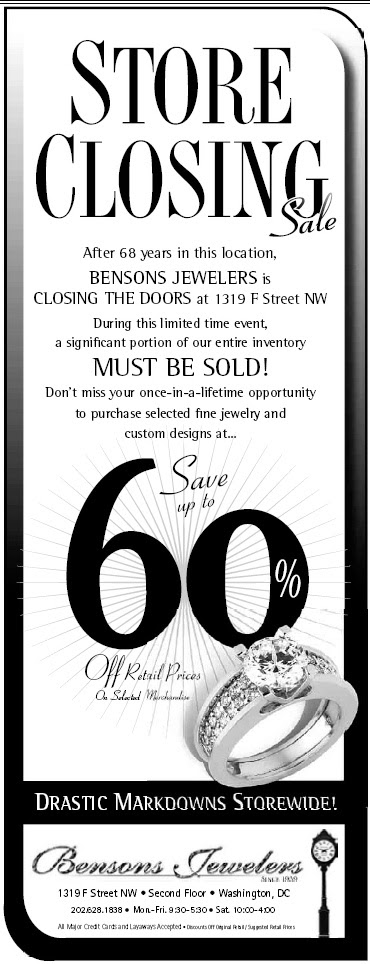 Benson's Jewelers Store Closing Sale