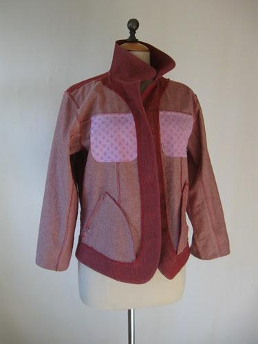 Red denim jacket inside