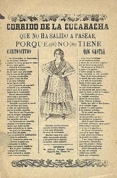 Mexikói forradalom. A La Cucaracha corrido röplapja