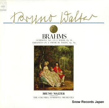 WALTER, BRUNO brahms; symphony no.3 in f major, op.90