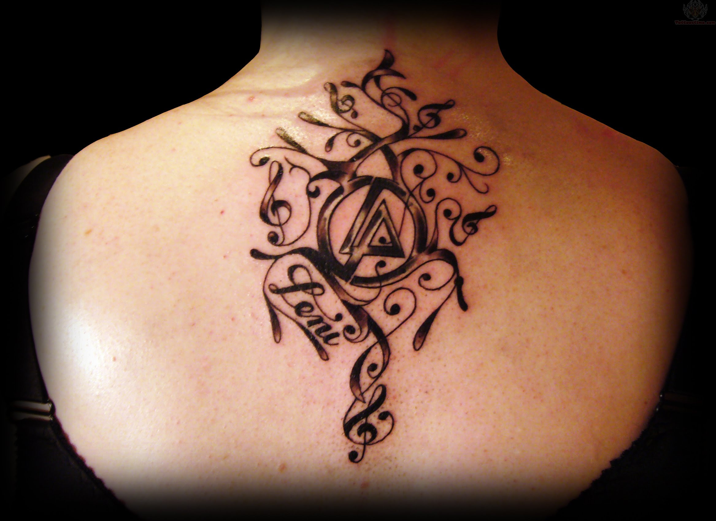 Linkin Park Upperback Shoulder Tattoo