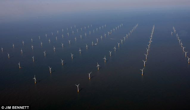Impressive sight: There are more than 100 giant turbines in the Thanet wind farm