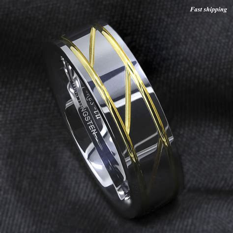 Silver Tungsten Carbide Ring Infinity 18K gold inlay