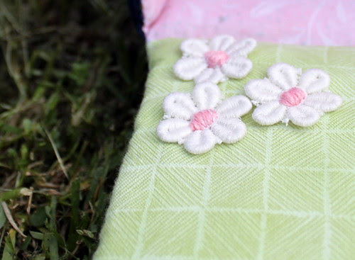 Lace flowers on dolls house
