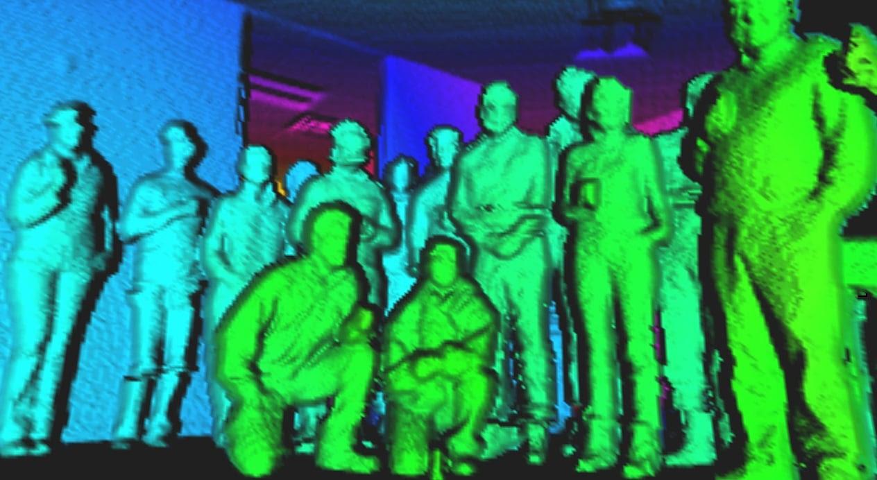 LiDAR image of people in a room