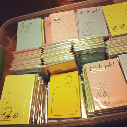 Organizing the mini notepads for Sugar Cookie on Etsy!