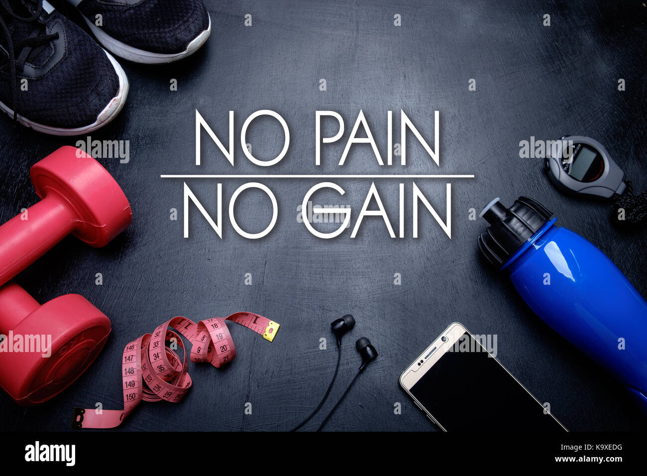 No Pain No Gain Health Fitness Motivational Quotes Stock Photo