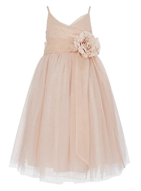 tulle layered pearl pink double straps ankle length flower