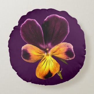 Yellow Purple Johnny Jump Up Flower Round Pillow