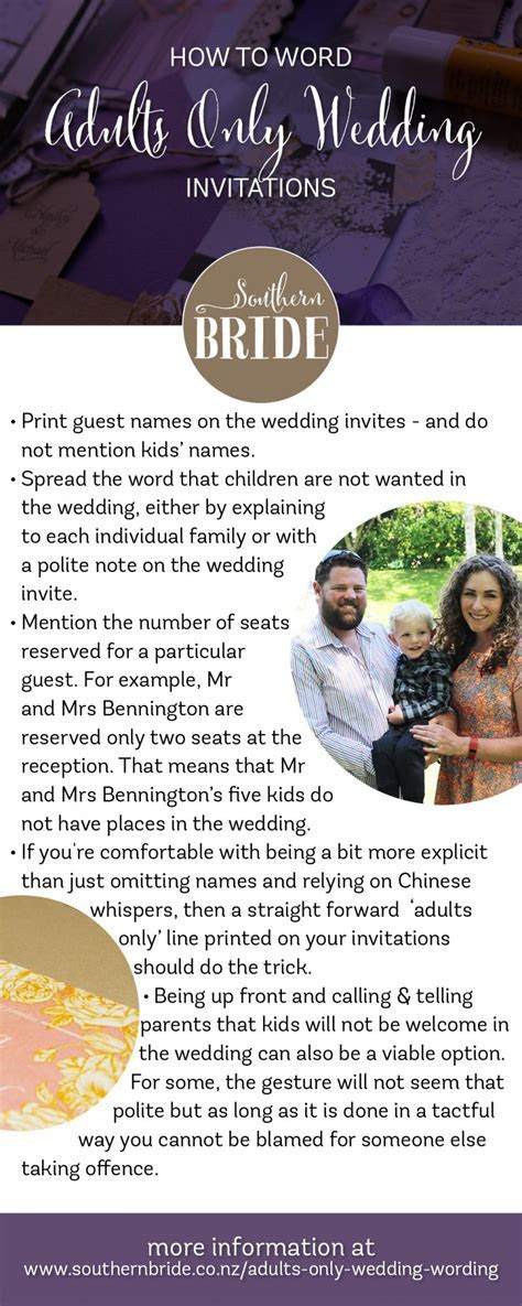 How to tell guests you are having an adults only wedding