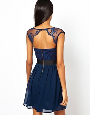 Image 2 ofElise Ryan Skater Dress with Scallop Lace
