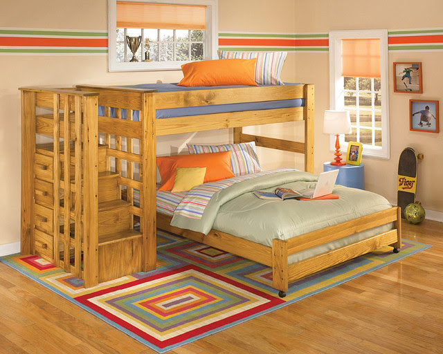 Twin Over Full Loft Bunk Bed with Stair Step - contemporary - beds ...