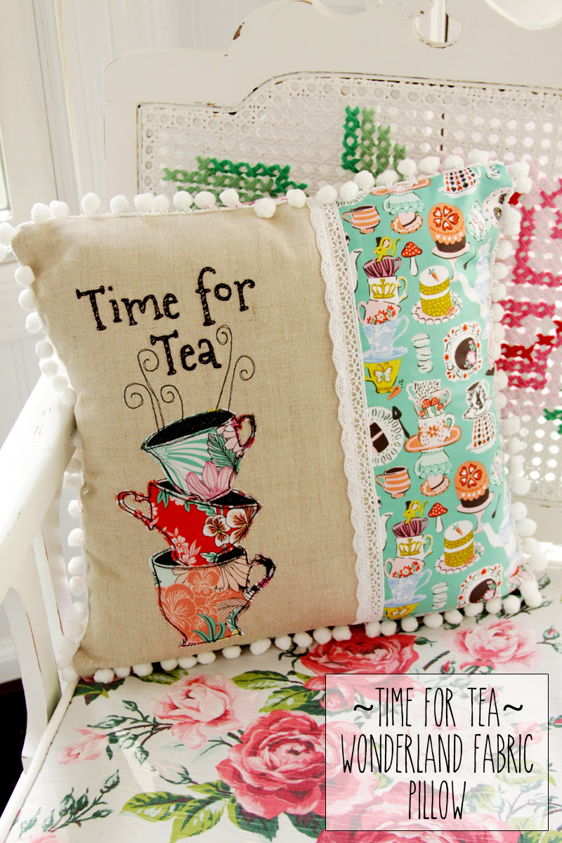 time-for-tea-wonderland-fabric-pillow