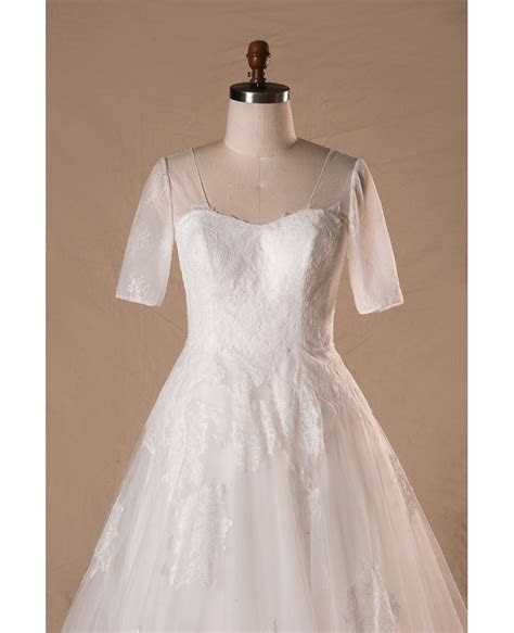 Modest Plus Size A line Lace Tulle Wedding Dress With