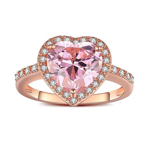 Heart Cut Pink Sapphire Rose Gold 925 Sterling Silver
