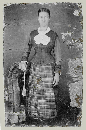 Tintype woman with fringed chair