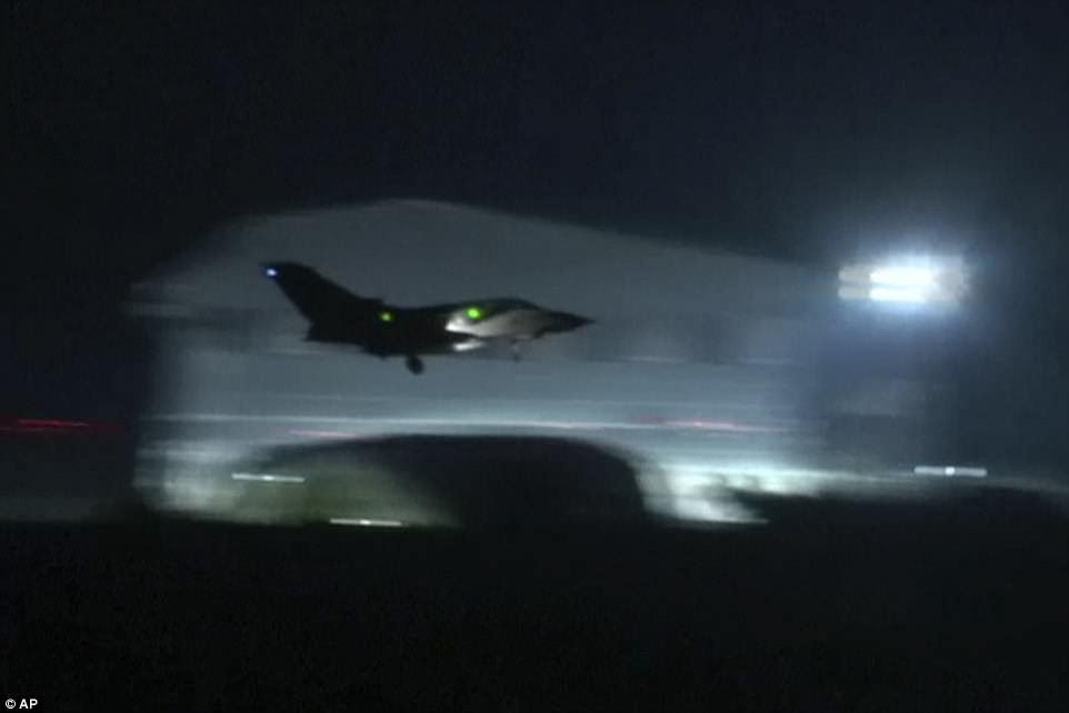 Fighter jet landing at Akrotiri military British Royal Air Force Base, Cyprus following strikes on Syrian chemical weapons bases