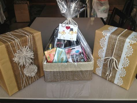 bridal shower gift: wine glasses and a wine basket