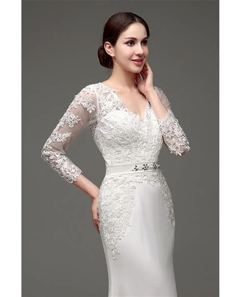 Cheap Vintage V Neck Lace Wedding Dress Fitted With 3/4