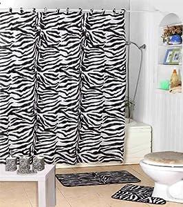 Amazon.com: Shower Curtain Kids Jungle Safari Black Zebra Design ...