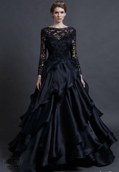 2017 New Arrival Designer Long Sleeves Black Wedding Dress