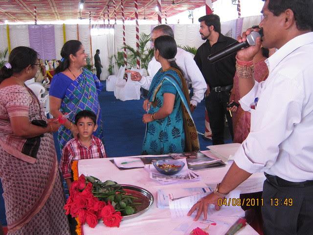 Mrs. Hemanti Kulkarni, President, D S Kulkarni Developers Ltd, with property buyers at the launch of DSK Kunjaban - 1 BHK 2 BHK Flats - Punawale - off Mumbai Bangalore Bypass - Pune 411 045