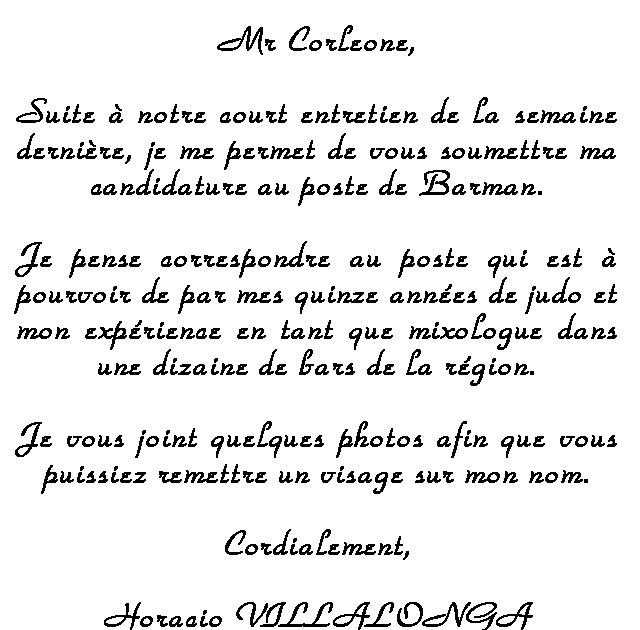 lettre de motivation emploi barman
