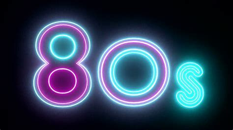 80s neon sign lights logo text glowing multicolor Motion