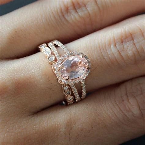 6X8mm Oval Morganite Ring 14K Rose Gold Split Band Diamond