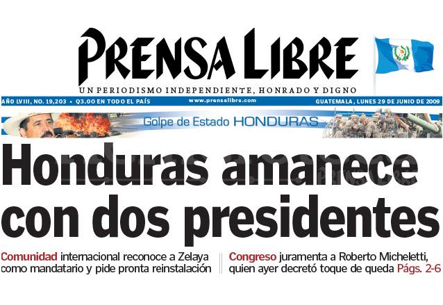 Titular de Prensa Libre del 29 de junio de 2009. (Foto: Hemeroteca PL)
