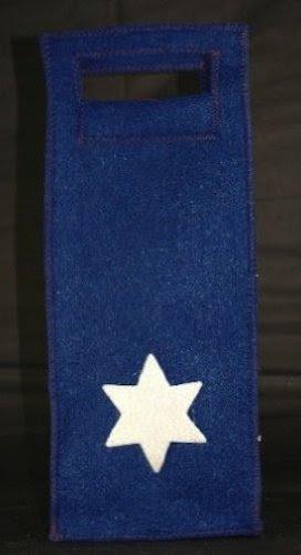 Chanukah Star of David Holiday Felt Wine Bottle Gift Bag
