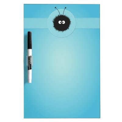 Blue Cute Fluffy Dazzled Bug Dry Erase Board
