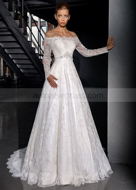Off Shoulder Long Sleeves Corset Back Sweep Train Ivory