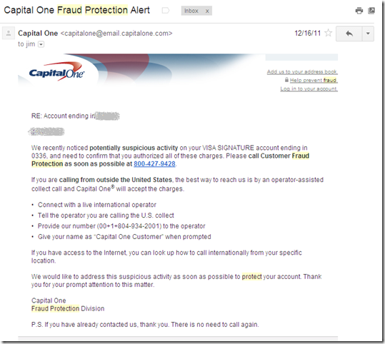 """Capital Ones Well-Designed """"Suspicious Activity"""" Email Alert"""