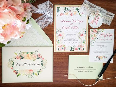 My DIY Story: Peach & Mint Floral Wedding Invitation
