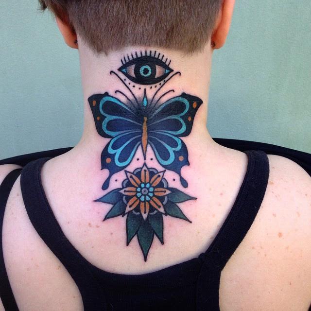 Flower Eye And Butterfly Neck Tattoo Best Tattoo Ideas Gallery