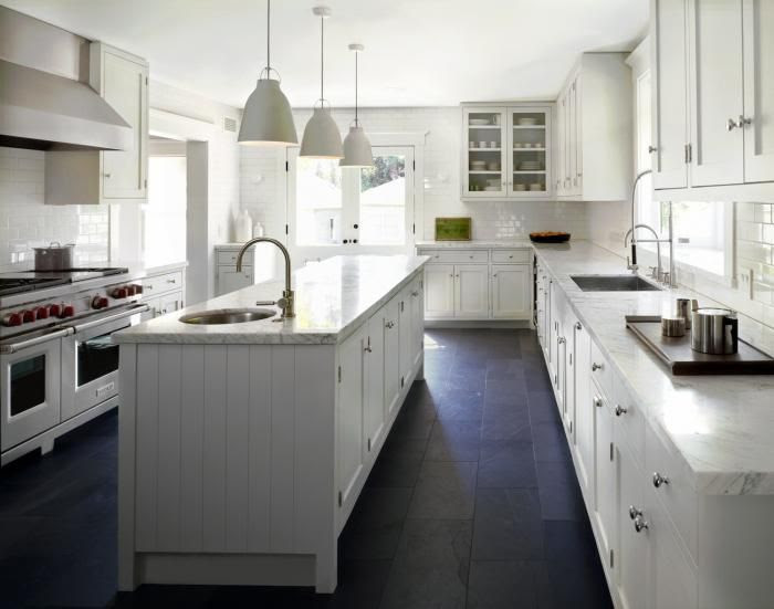 White Kitchen, Slate Floor | Home Design and Decor Reviews on galley kitchen walls, galley kitchen refrigerator, galley kitchen windows, galley kitchen double oven, galley kitchen laminate flooring, galley kitchen tile, galley kitchen living room, galley kitchen breakfast bar, galley kitchen open floor plan, galley kitchen recessed lighting, galley kitchen skylight, galley kitchen dishwasher, galley kitchen great room, galley kitchen cherry cabinets, galley kitchen hickory cabinets, galley kitchen maple cabinets, galley kitchen light fixtures,