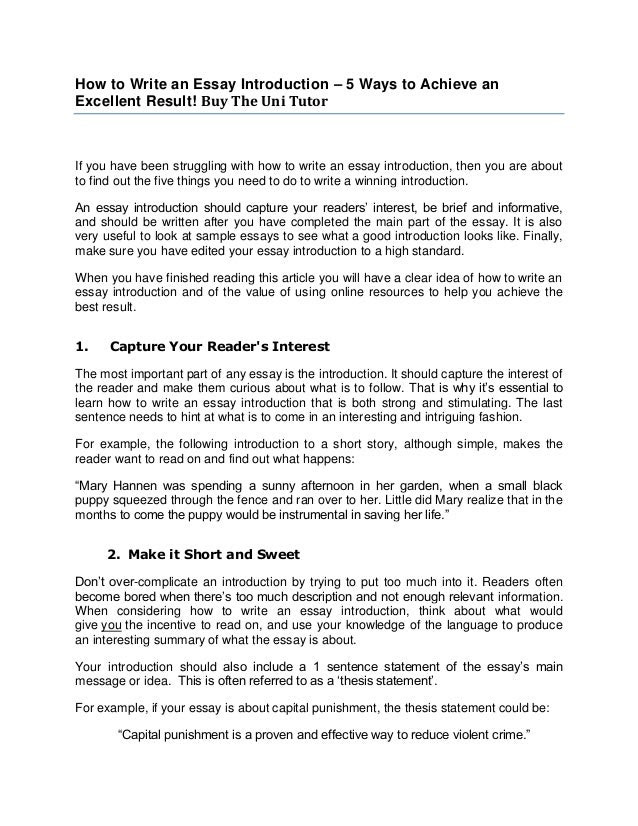 how to write essay introduction without
