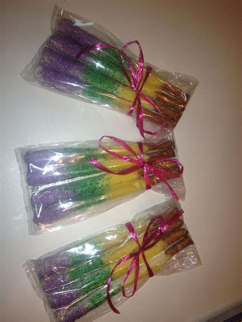 mardi gras white chocolate pretzels teacher gifts