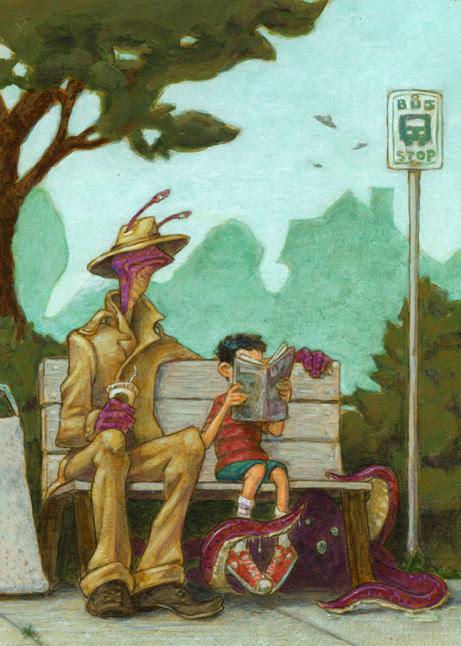 Strangers escorts / Extraños acompañantes (ilustración de Mark Meyers)