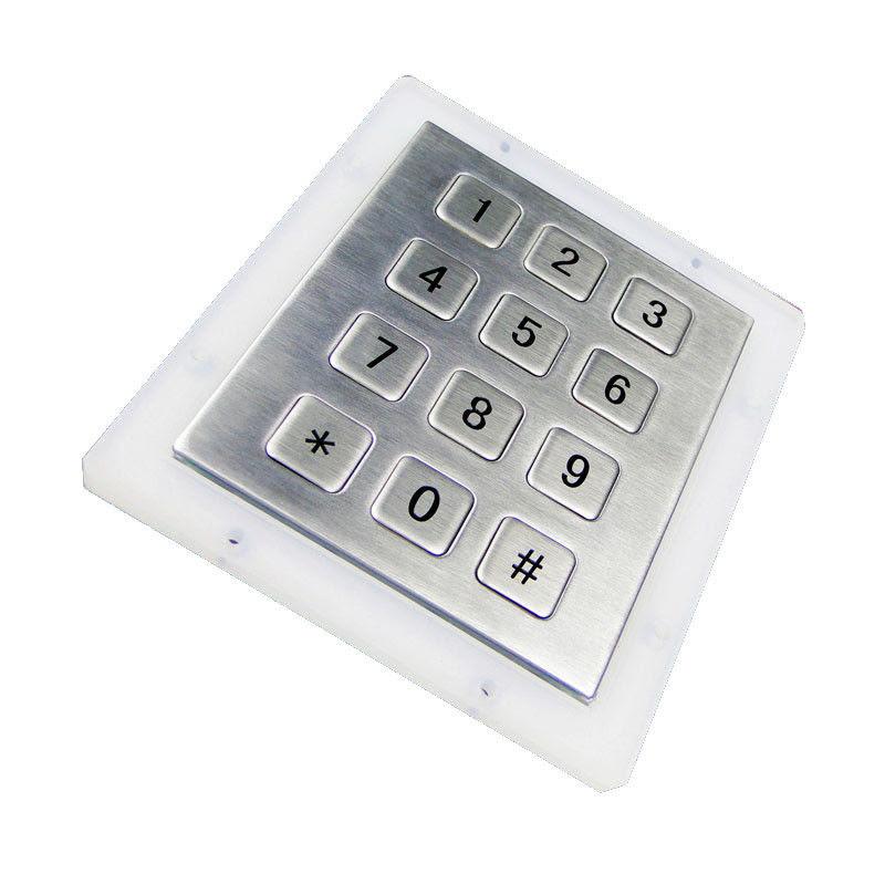 12 shor-travel keys stainless steel metal numeric keypad MKP92-12F ...
