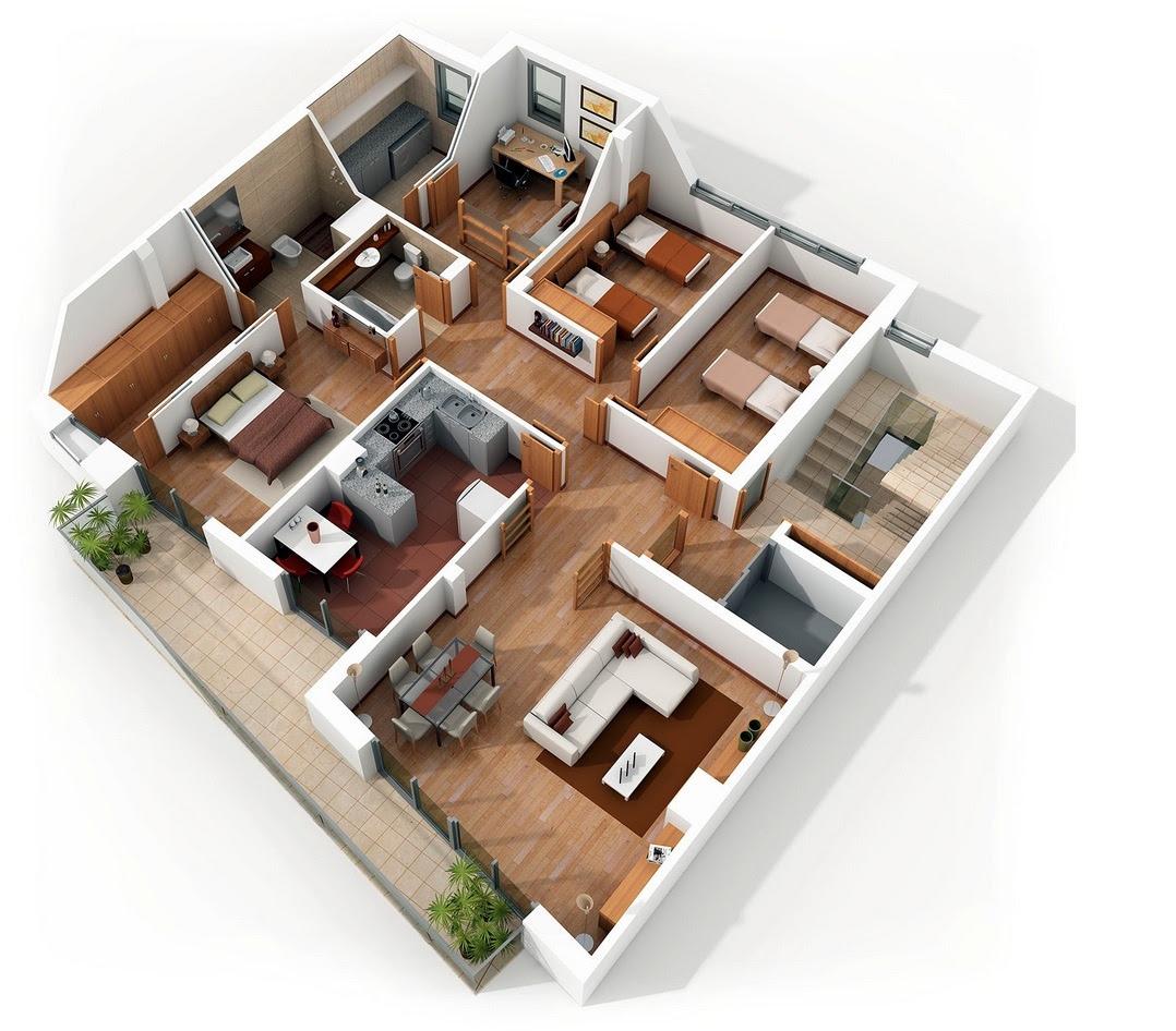 "50 Four ""4"" Bedroom Apartment/House Plans   Architecture ..."