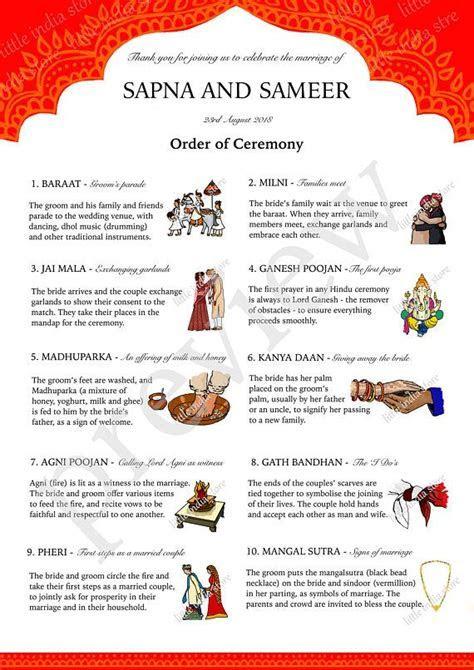Indian hindu wedding marriage order of ceremony program