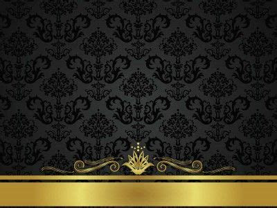 Black Golden Floral Design PPT Backgrounds   Abstract