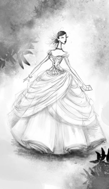 Belle2be 39s dress I kind of want a fashiony sketch of my wedding gown
