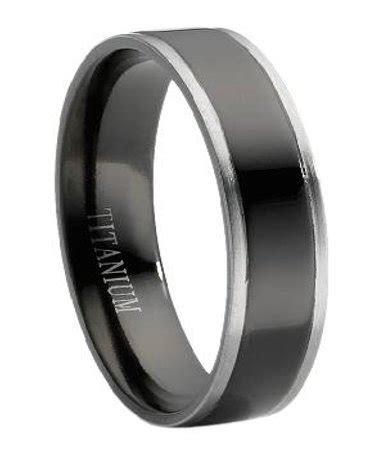 Black Titanium Wedding Band for Men With Grey Edges, 6mm