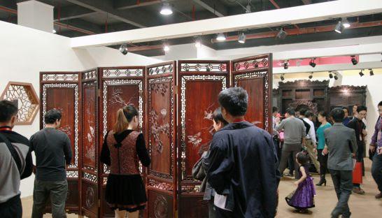 A showroom in China displaying rosewood furniture